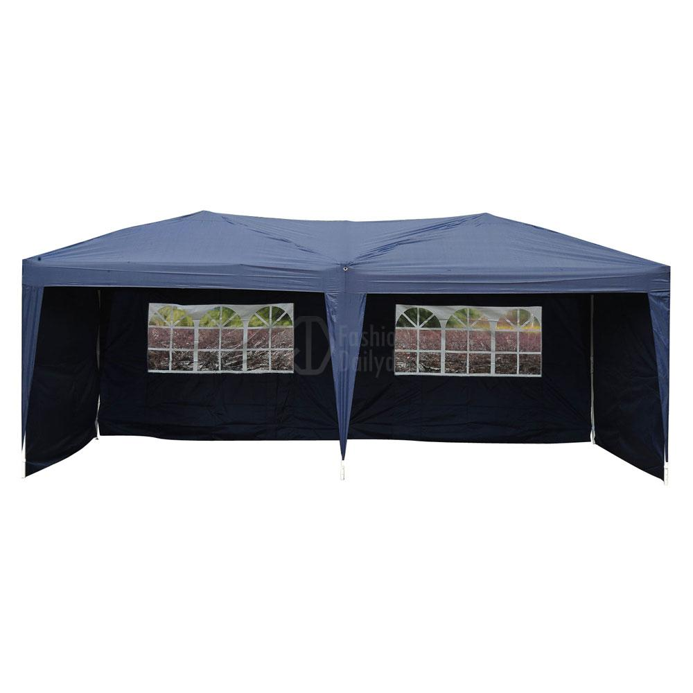Instant Shelters With Side Walls : Blue patio gazebo ez pop up party tent wedding
