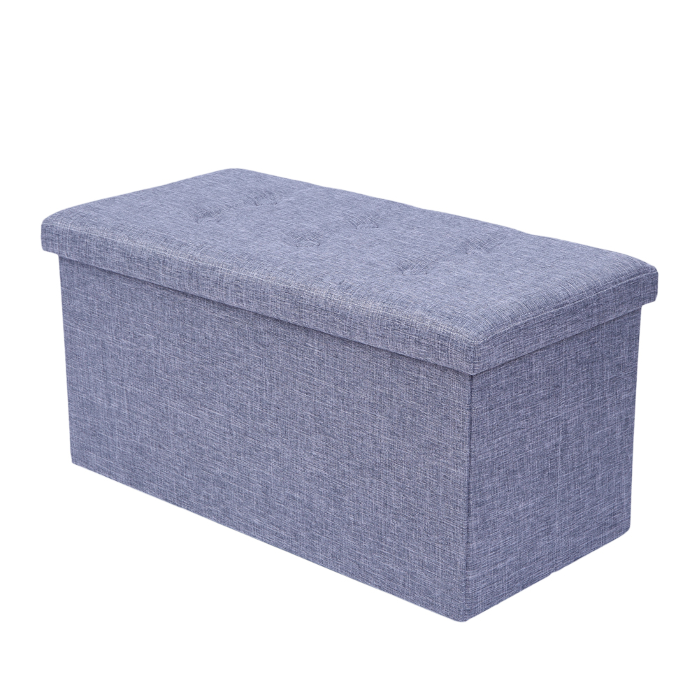 Brilliant Details About Large Ottoman Foldable Storage Box Linen Suede Foot Stool Seat Furniture Gray Machost Co Dining Chair Design Ideas Machostcouk