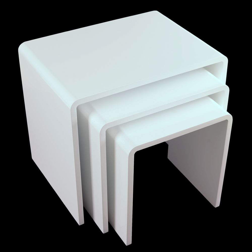 Contemporary Coffee Table In White High Gloss 8738: Modern Nest Of 3 Tables White High Gloss Living Room Side