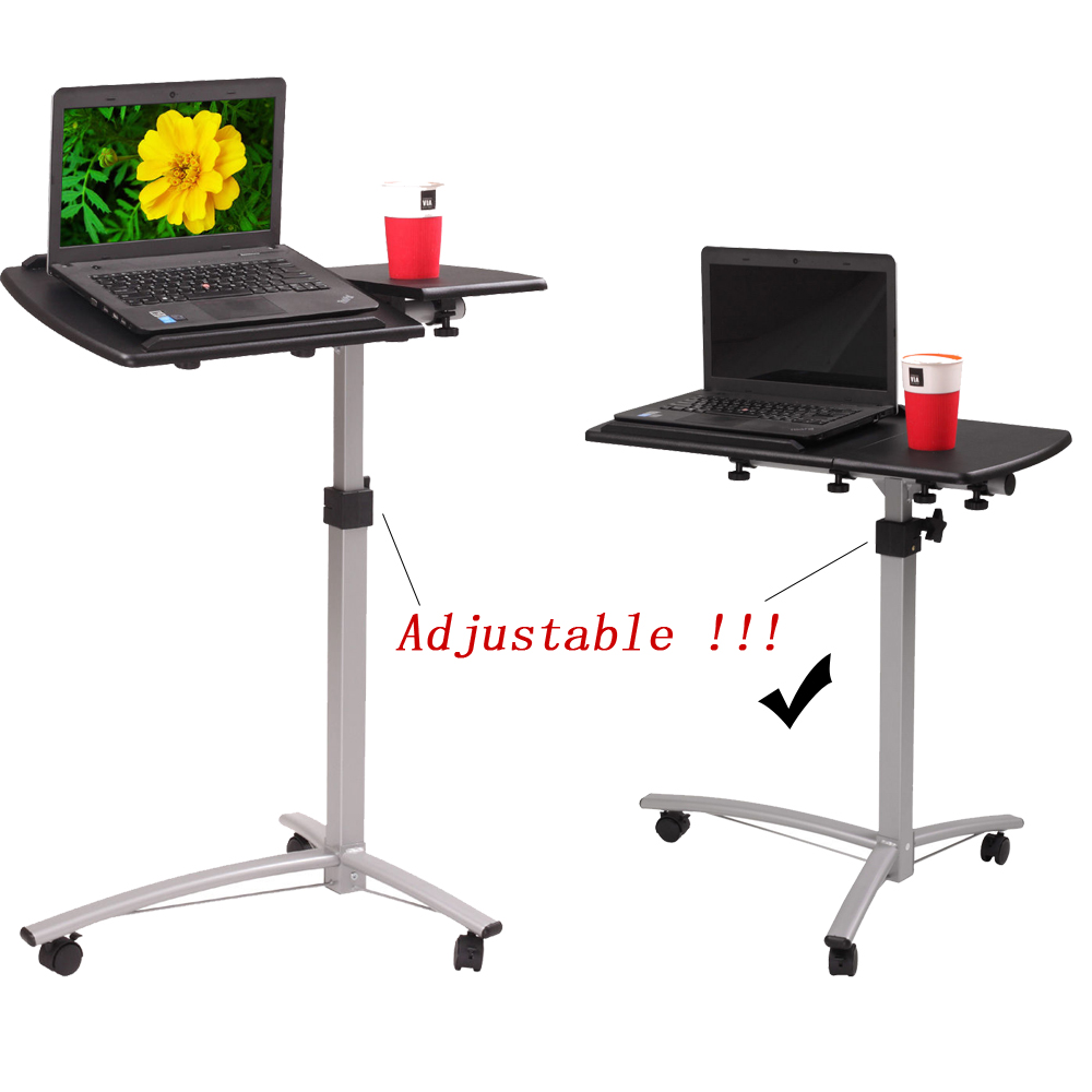 height adjustable laptop desk cart bed hospital rolling notebook table stand ebay. Black Bedroom Furniture Sets. Home Design Ideas