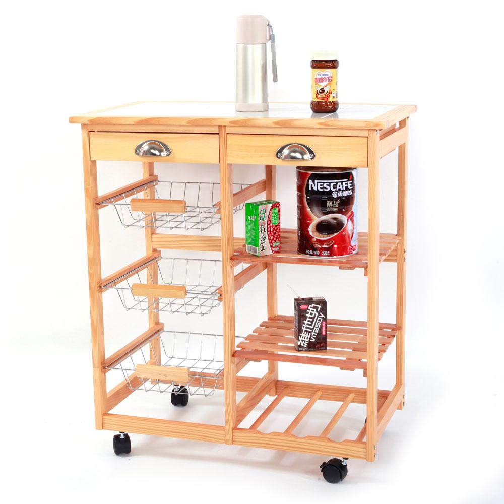 Rolling kitchen trolley cart storage drawer basket wine for Kitchen storage cart