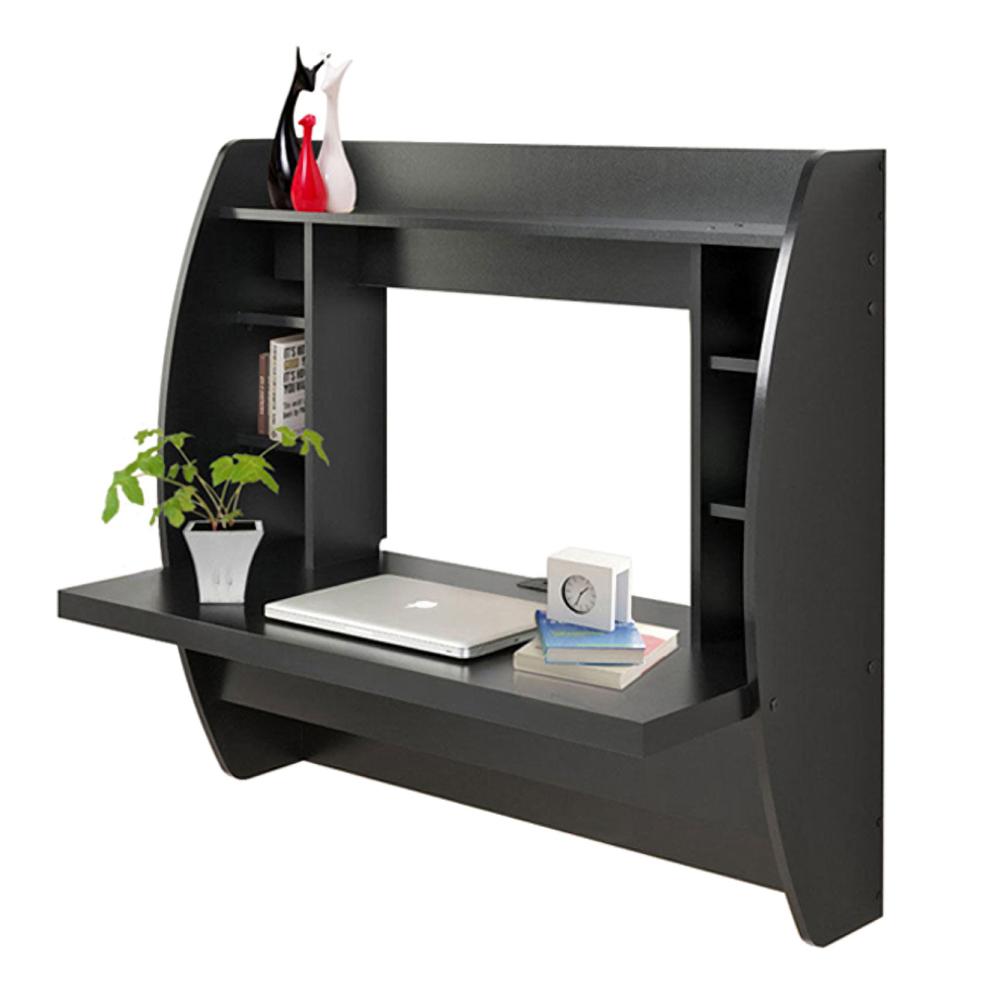 wall mount floating computer desk storage shelves home