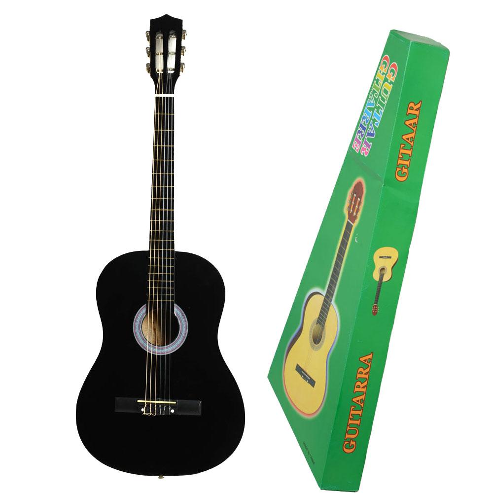 new 38 beginner classical practice acoustic guitar black color uk ebay. Black Bedroom Furniture Sets. Home Design Ideas