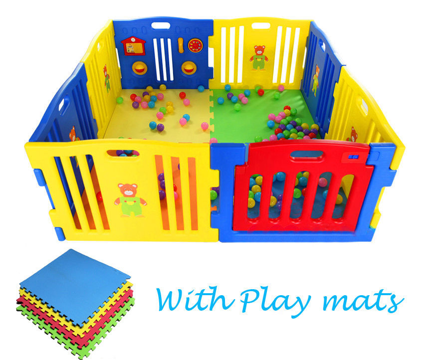 Child Divider Large Foldable Baby Playpen Plastic Fence With 4pcs