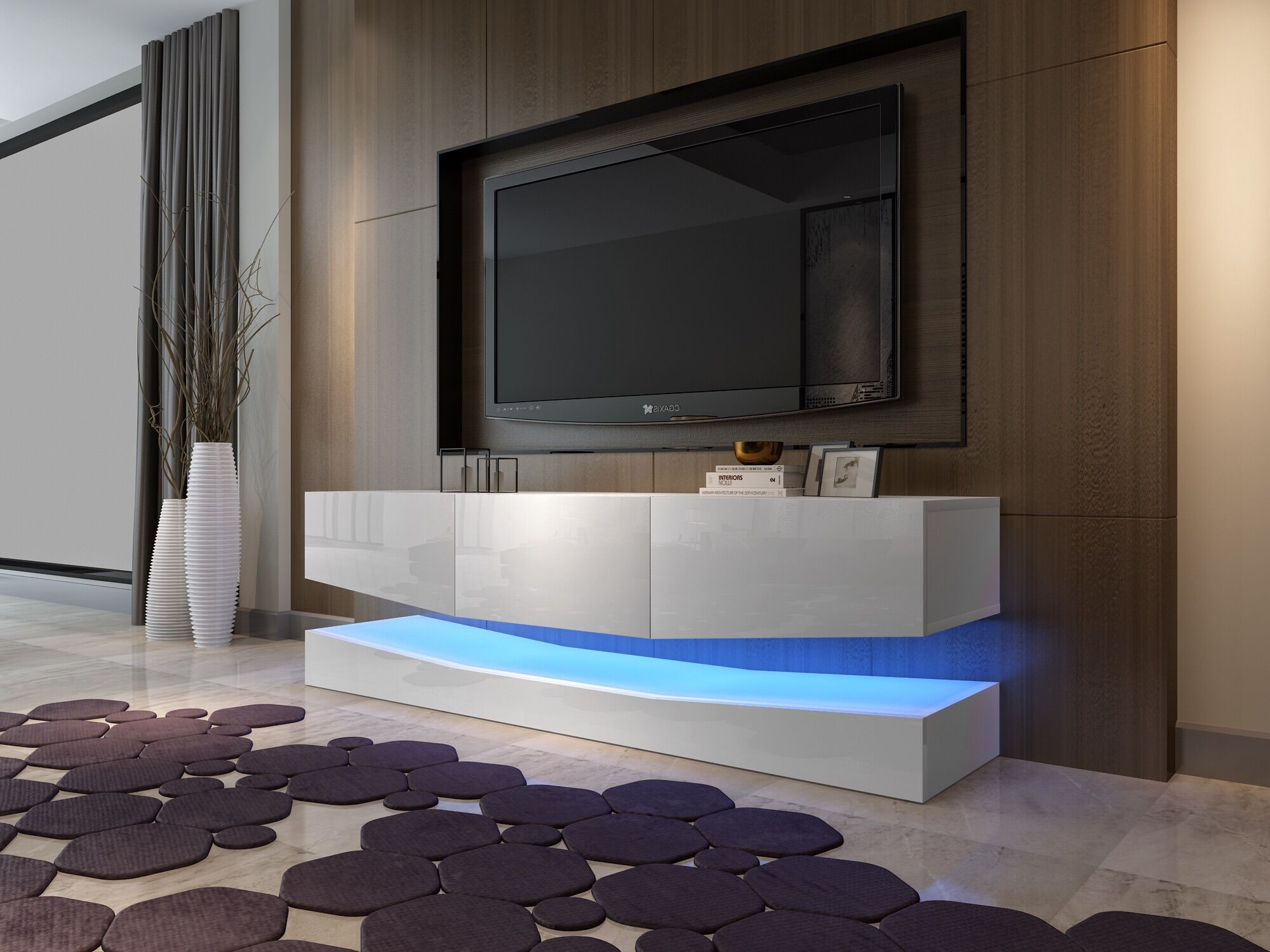 sports shoes ecdce 87fa7 Details about High Gloss LED Light TV Stand Cabinet Sideboard with Drawers  Living Room